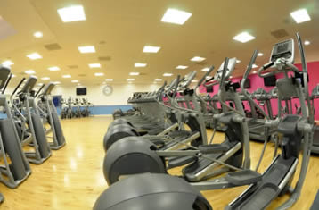 Bicycle machines in a gym